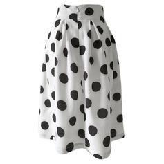 Polyester Polka Dot Knee Length Pleated Skirts A-Line Skirts