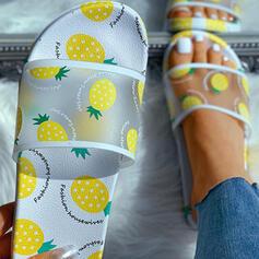 Bayanlar ağ PU Düz topuk Terlik ayakkabı