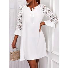 Solid Lace 3/4 Sleeves Shift Above Knee Elegant Dresses
