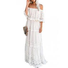 Spitze/Einfarbig 1/2 Ärmel A-Linien Elegant Maxi Kleider