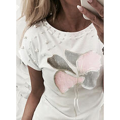 Beaded Print Round Neck Short Sleeves T-shirts