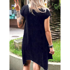 Print Short Sleeves Shift Asymmetrical Casual T-shirt Dresses