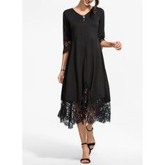Lace/Solid 3/4 Sleeves A-line Skater Little Black/Elegant Midi Dresses