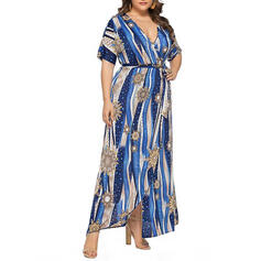 Print Short Sleeves A-line Casual/Plus Size Maxi Dresses