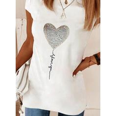 Estampado Coração Carta Gola Redonda Manga Curta Elegante Blusas