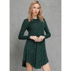 Solid Long Sleeves A-line Knee Length Casual Dresses