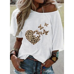 Animal Print Leopard One-Shoulder 1/2 Sleeves Casual T-shirts