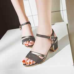 Women's Leatherette Chunky Heel Sandals Peep Toe Slingbacks shoes