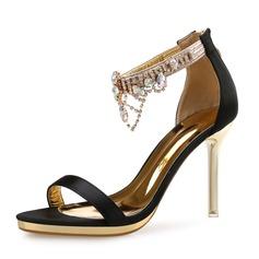 Femmes Satiné Talon stiletto Sandales À bout ouvert avec Strass chaussures