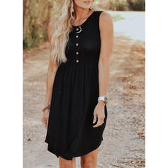 Solid Sleeveless A-line Knee Length Little Black/Casual Dresses