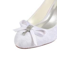 f5a79a0233b ... Δαντέλα Μετάξι σαν σατέν Ψηλό τακούνι Κλειστά παπούτσια Γοβάκια Με  Κρύσταλλο