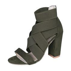 Femmes PU Talon bottier Sandales Escarpins À bout ouvert avec Ouvertes chaussures