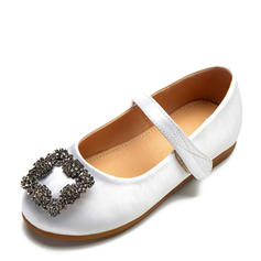 Girl's Satin Flat Heel Round Toe Closed Toe Flats Flower Girl Shoes With Velcro Crystal