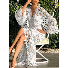 Lace/Solid Long Sleeves/Flare Sleeves A-line Casual/Vacation Midi Dresses