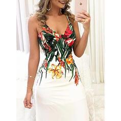 Estampado/Floral Sem mangas Bainha Casual/Férias Maxi Vestidos