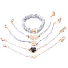 À la mode Refroidir Alliage avec Perle d'imitation Bracelets (Ensemble de 5 paires)