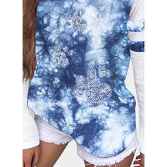 Sequins Tie Dye Round Neck Long Sleeves Casual T-shirts