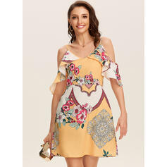 Print/Floral Short Sleeves A-line Above Knee Casual Dresses