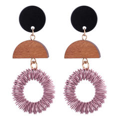 Fashionable Wood Copper Ladies' Fashion Earrings
