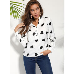 Print Heart V-Neck Long Sleeves Button Up Casual Shirt Blouses