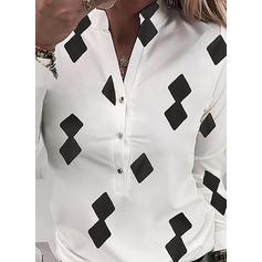 Распечатать V шеи Длинные рукова Кнопка вверх Повседневная Рубашка Блузки