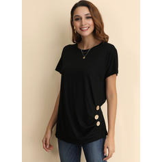 Solid Round Neck Short Sleeves Button Up Casual Knit T-shirts