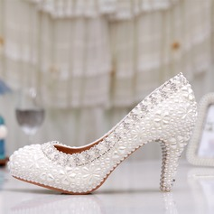 Women's Leatherette Cone Heel Closed Toe Pumps With Rhinestone