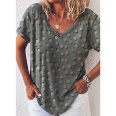 Print PolkaDot V-Neck Short Sleeves Casual T-shirts