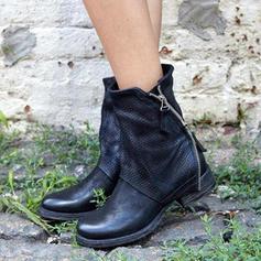 Vrouwen PU Flat Heel Enkel Laarzen met Rits schoenen