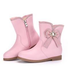 Dziewczyny Round Toe Zakryte Palce Połowy łydki buty Skóra z mikrofibry Niski Obcas Kozaki Buty Flower Girl Z Kokarda Zamek błyskawiczny