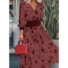 Print/Floral Long Sleeves/Lantern Sleeve A-line Skater Casual/Elegant Maxi Dresses