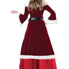 Patchwork 3/4 Sleeves A-line Maxi Christmas Dresses