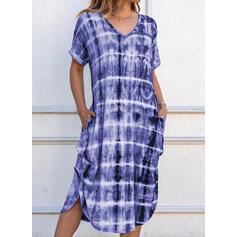 Tie Dye Krótkie rękawy Koktajlowa Casual Midi Sukienki