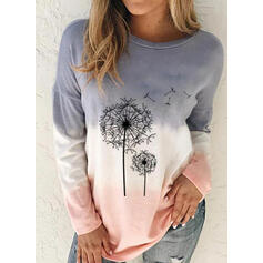 Print Dandelion Gradient Round Neck Long Sleeves Casual Blouses