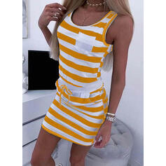 Print/Striped Sleeveless Bodycon Above Knee Casual Dresses