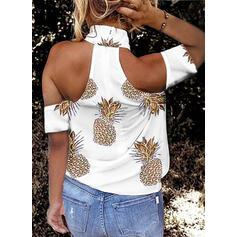 Print Cold Shoulder Short Sleeves Sexy Blouses