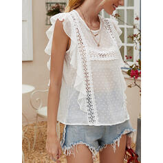 Solid Lace Round Neck Cap Sleeve Casual Sheer Blouses
