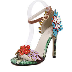 Women's Leatherette Stiletto Heel Peep Toe Pumps Sandals With Flower
