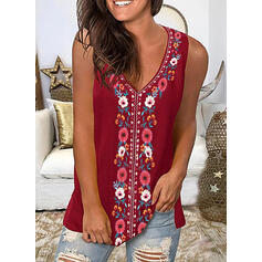 Print Floral V-Neck Sleeveless Casual Blouses