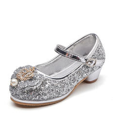 Girl's Sparkling Glitter Low Heel Round Toe Pumps Flower Girl Shoes With Bowknot Imitation Pearl Rhinestone
