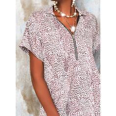 Leopard Krátké rukávy Splývavé Nad kolena Neformální Tunika Šaty