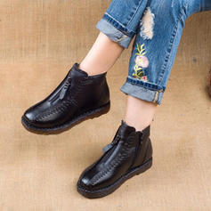 Femmes PU Talon bas Bottes neige avec Zip chaussures