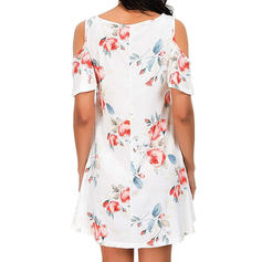 Print/Floral Cold Shoulder Sleeve Shift Above Knee Casual Dresses