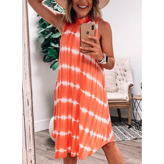 Print/Striped Sleeveless Shift Knee Length Casual/Vacation Dresses