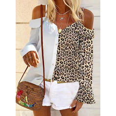 Leopard Cold Shoulder Long Sleeves Button Up Casual Blouses