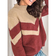 Color Block Chunky knit Stand Collar Casual Sweaters