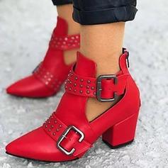 Vrouwen PU Chunky Heel Laarzen met Klinknagel Gesp schoenen