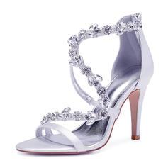 Frauen Seide wie Satin Stöckel Absatz Peep-Toe Absatzschuhe Sandalen mit Strass Reißverschluss Kette