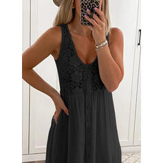 Lace/Solid Sleeveless Shift Above Knee Little Black/Casual Tank Dresses