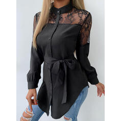 Solid Lace Stand collar Long Sleeves Button Up Casual Blouses